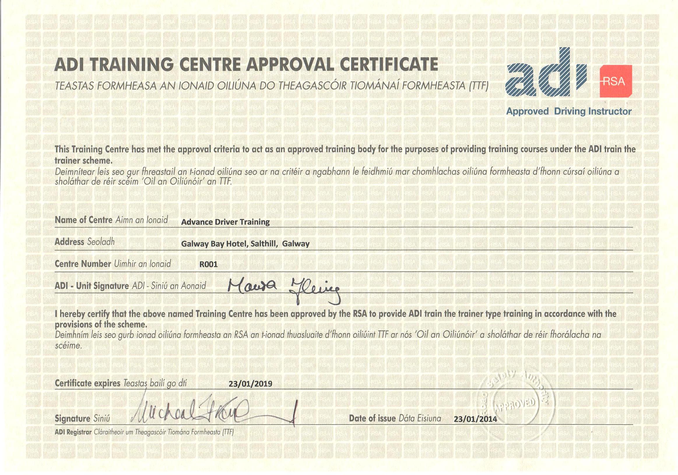 Advance Drive Is The Only Training Provider In The West Of Ireland